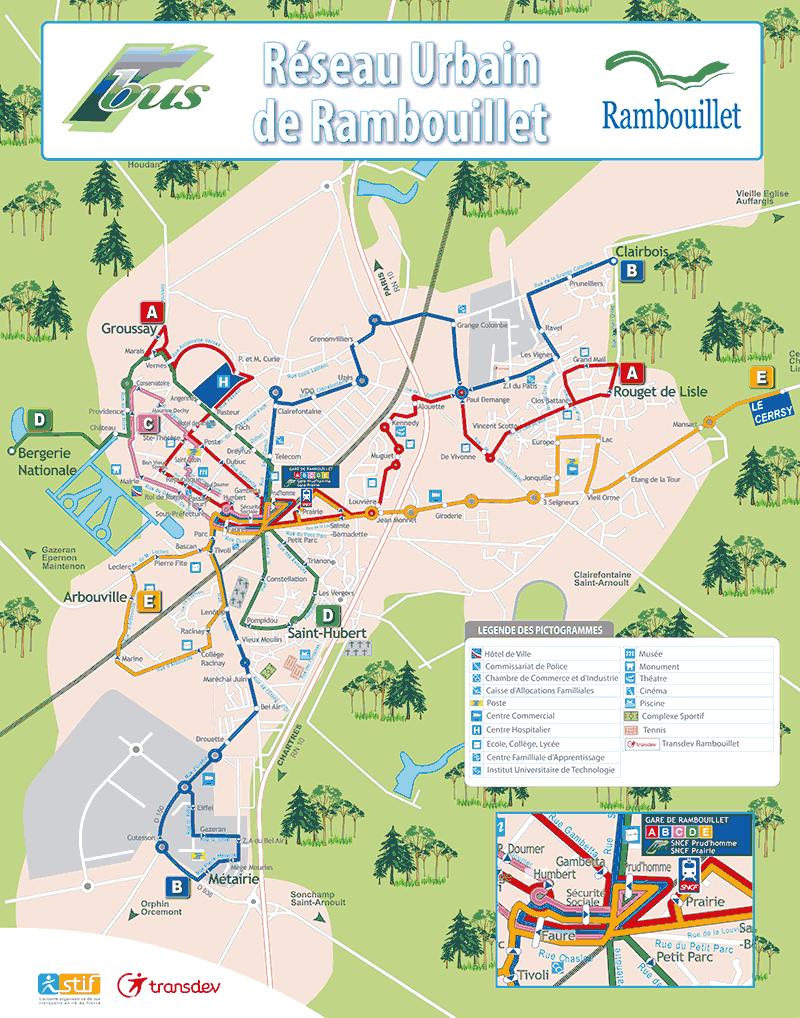 Plan des lignes de bus de Rambouillet