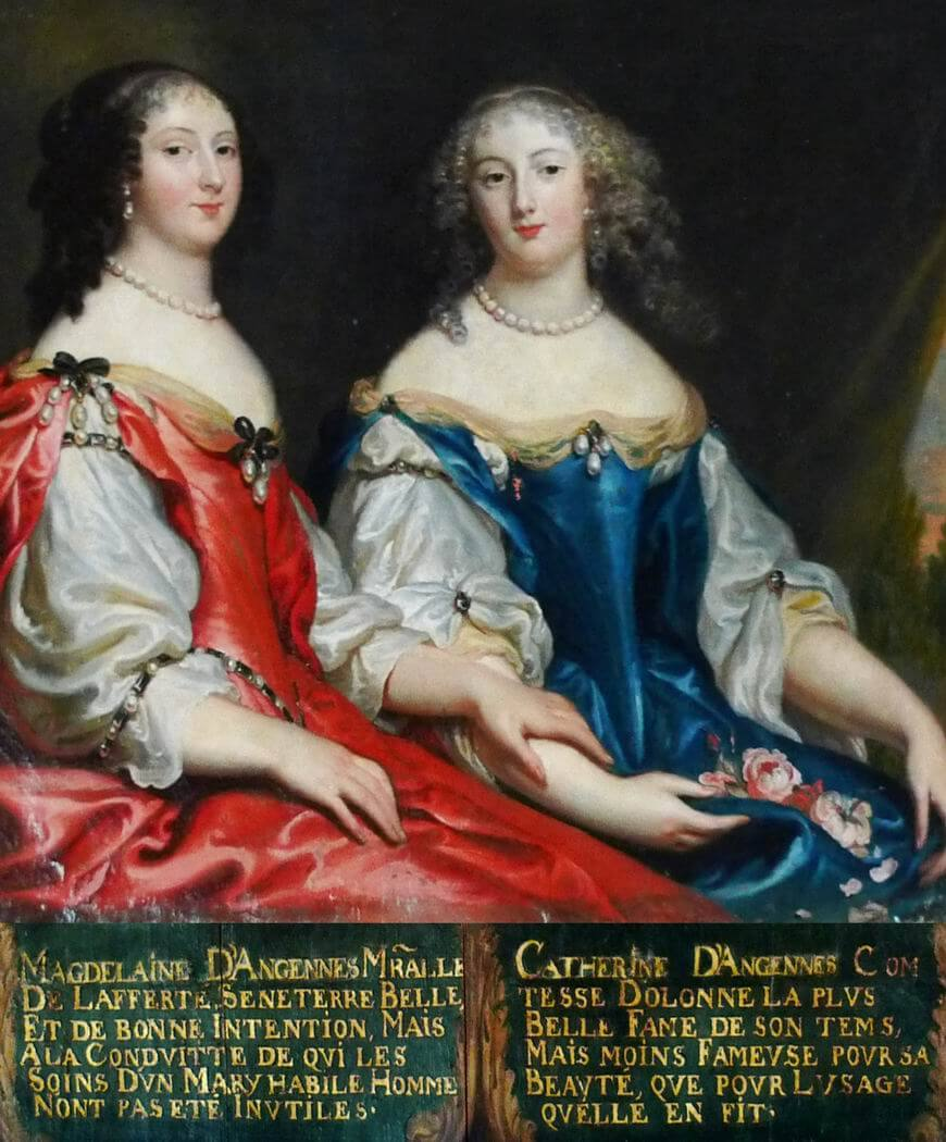Portraits de Magdeleine d'Angennes, épouse de Henri, maréchal-duc de La Ferté-Senneterre, et de Catherine d'Angennes, épouse de Louis de La Trémoïlle, comte d'Olonne.
