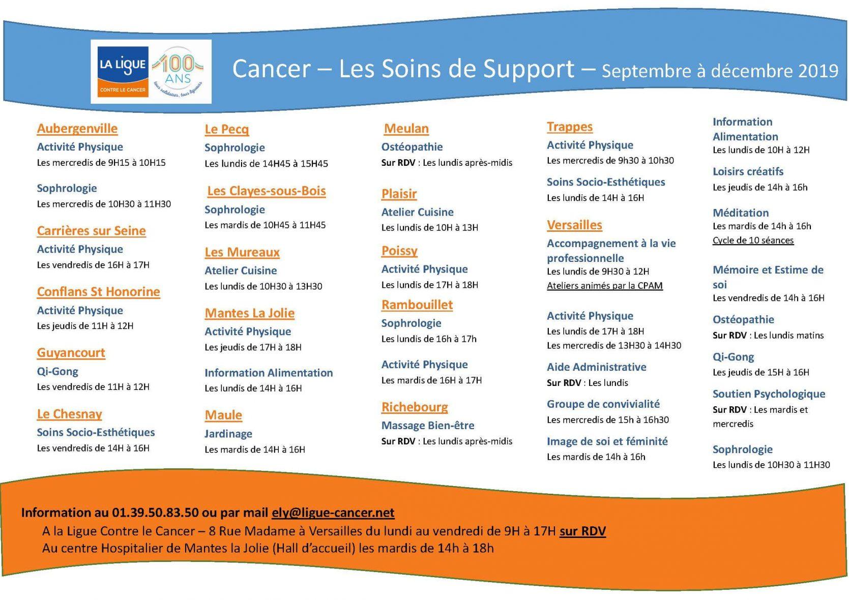 Soins de support - Récapitulatifs des lieux dates et soin en Yvelines